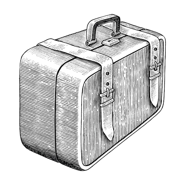 Vintage medical bag hand draw black and white clip art isolated Premium Vector