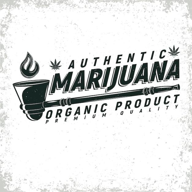 ビンテージ医療大麻ロゴデザイン、グランジプリントスタンプ、創造的なマリファナのタイポグラフィエンブレム Premiumベクター