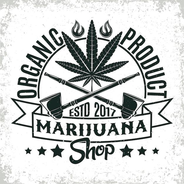 ビンテージの医療大麻ロゴ、グランジプリントスタンプ、創造的なマリファナのタイポグラフィエンブレム、 Premiumベクター