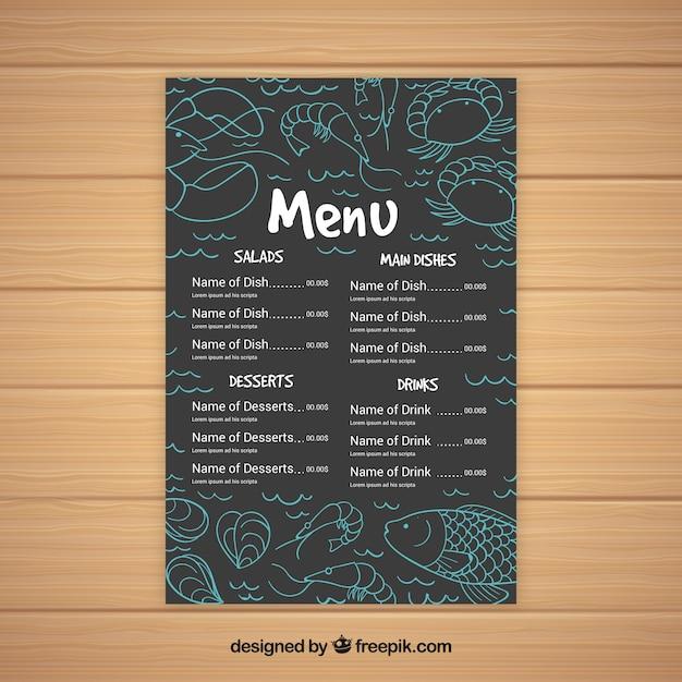 Vintage menu of restaurant with drawings
