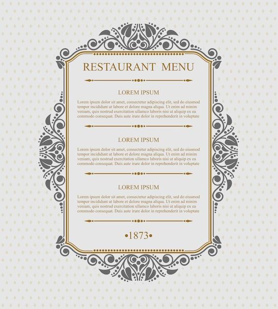 ヴィンテージメニューレストラン活版印刷のデザイン要素、書道の優雅なテンプレート、 Premiumベクター