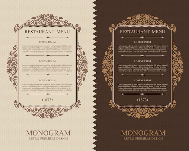 ヴィンテージメニューレストラン活版印刷のデザイン要素、書道の優雅なテンプレート Premiumベクター