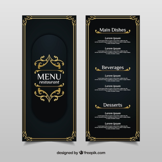 Vintage menu template with golden ornaments Free Vector