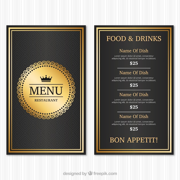 Vintage Menu Template With Golden Style