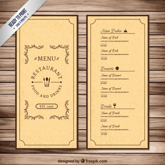 Template For A Menu | Vintage Menu Template Vector Free Download