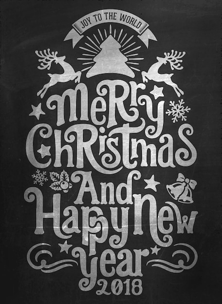 Vintage Merry Christmas And Happy New Year Calligraphic Typographic Background With Chalk Word Art On
