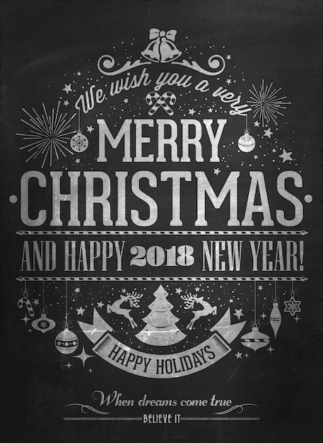 vintage merry christmas and happy new year calligraphic and typographic background with chalk word art on - Vintage Merry Christmas