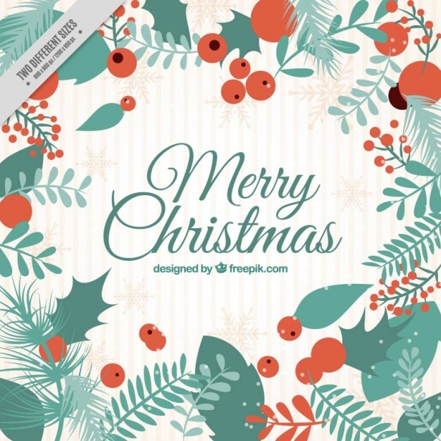 Vintage merry christmas background with leaves Vector | Free Download
