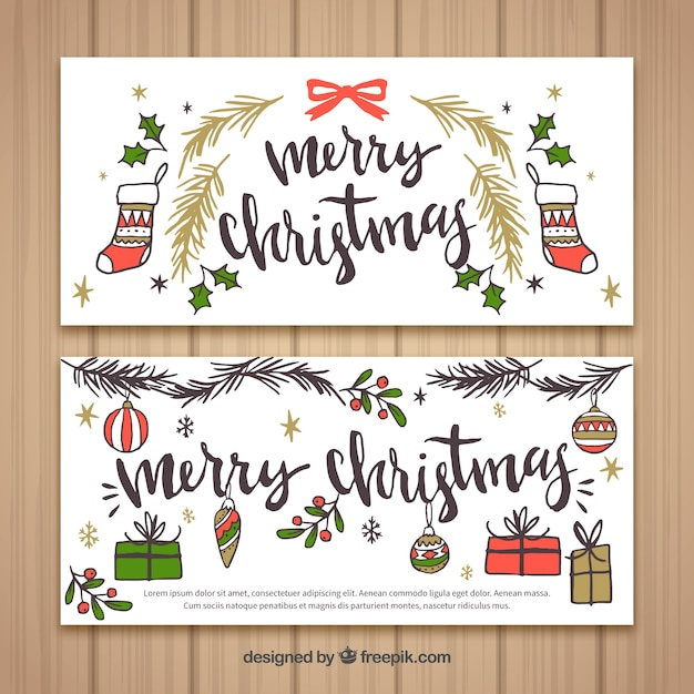 Vintage Merry Christmas Banners With Drawings Free Vector