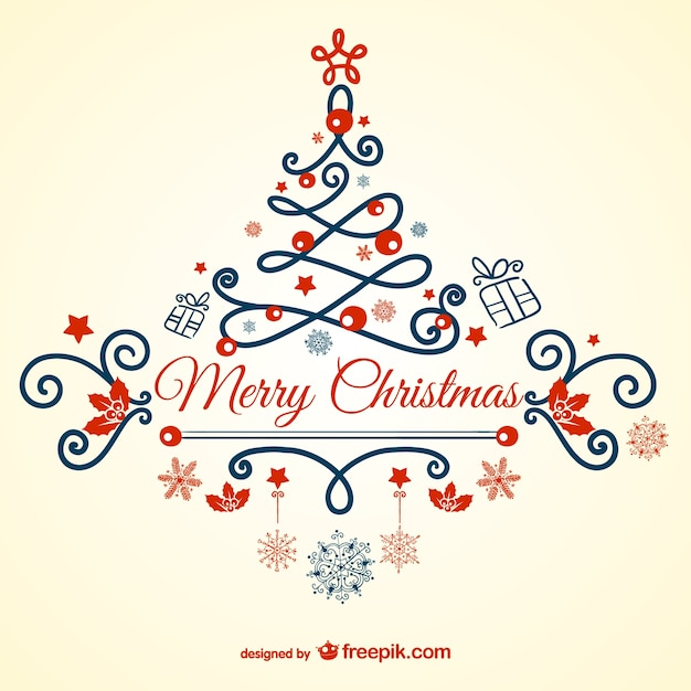 Beautiful Vintage Merry Christmas Card Free Vector