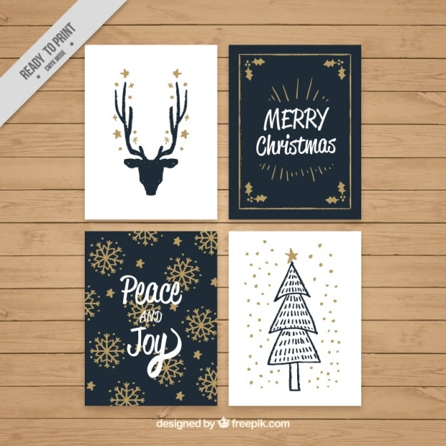 Vintage Merry Christmas Cards With Golden Details Free Vector