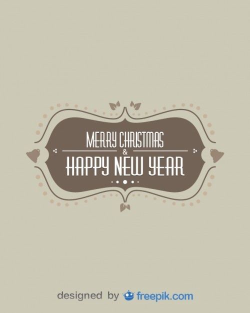 Vintage Merry Christmas Happy New Year Free Vector