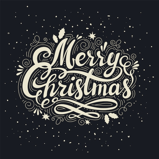 Vintage merry christmas inscription Premium Vector