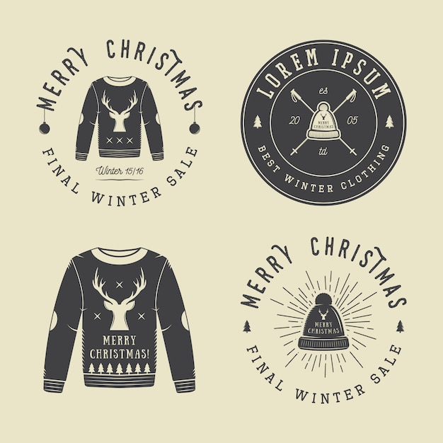 Vintage merry christmas or winter clothing shop logo, emblem, badge, label and watermark in retro style with sweaters, hats, scarfs, trees, stars, decor, deers and design elements. Premium Vector