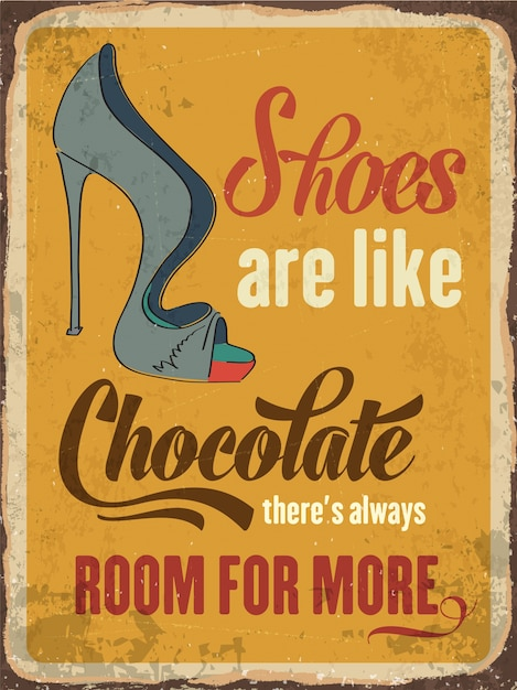 Vintage metal sign about shoes Free Vector