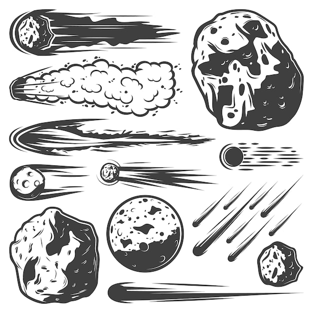 Vintage meteors collection with falling comets asteroids and meteorites of different shapes isolated Free Vector