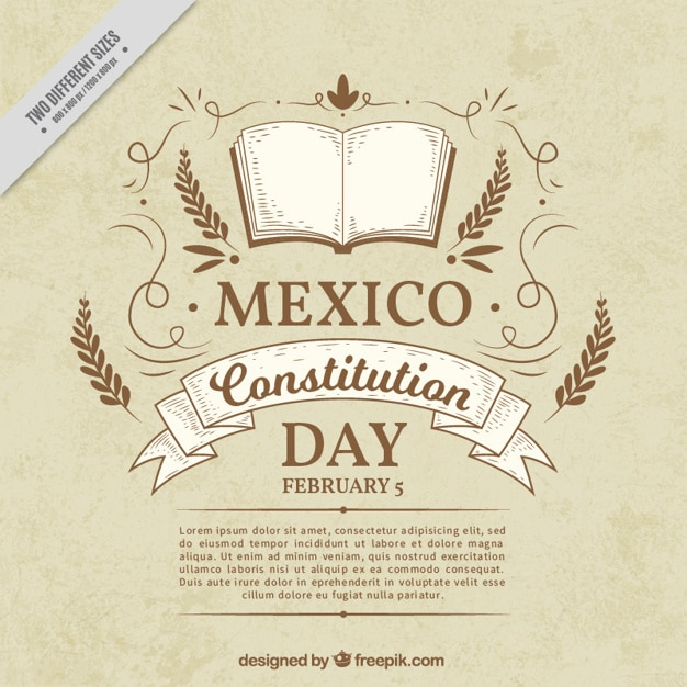 vintage mexican constitution day background vector free download