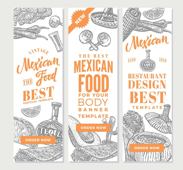 Vintage mexican food vertical banners Free Vector