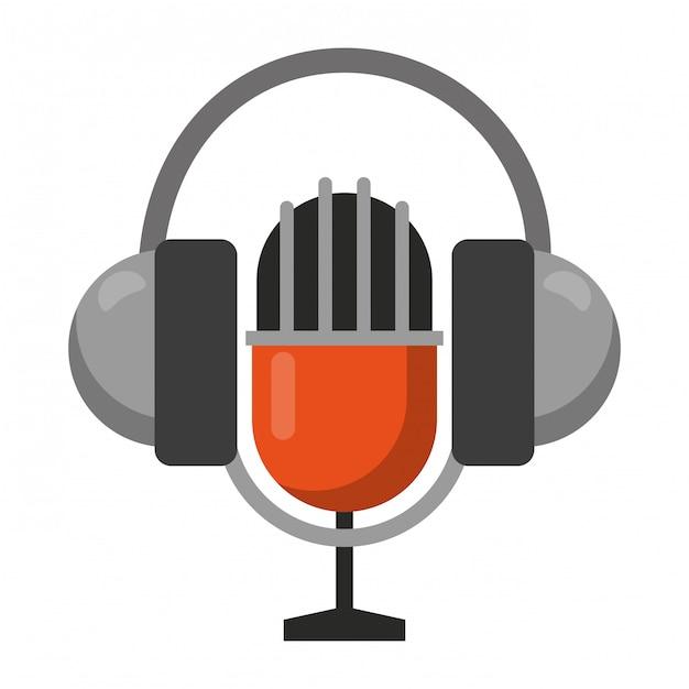 Vintage microphone and headphones Premium Vector