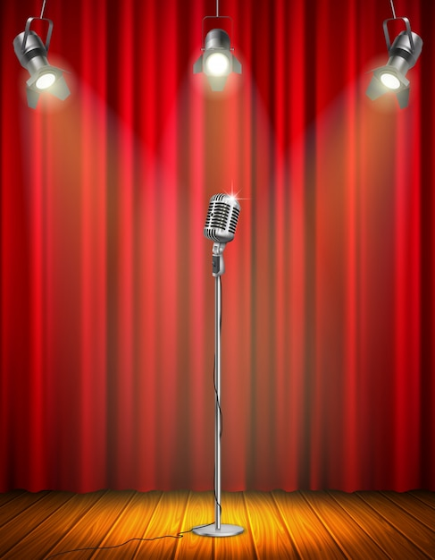 Vintage microphone on illuminated stage with red curtain three hanging spotlights wooden floor vector illustration Free Vector