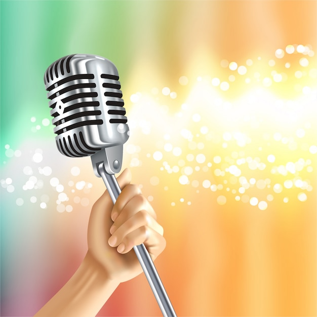 Vintage microphone light background poster Free Vector