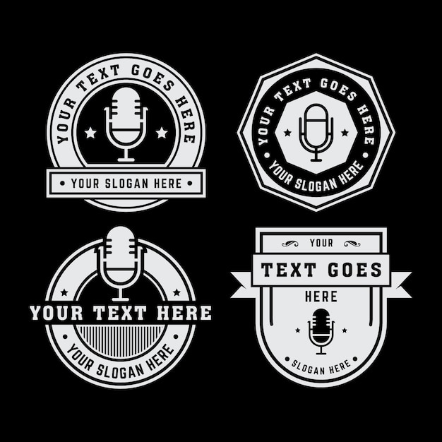 vintage microphone logo vector premium download