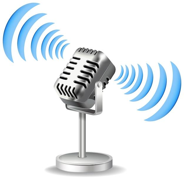Старинный микрофон со значком звуковой волны Бесплатные векторы