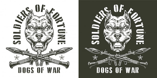 Emblemi monocromatici militari vintage Vettore gratuito