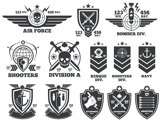 Vintage military vector labels and patches. emblem and military badge, patch insignia for army and m Premium Vector