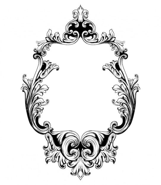 Vintage mirror frame baroque rich design elements Premium Vector