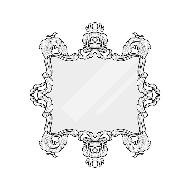 Vintage Mirror Frame Vector Collection Of Round And Square Frames Design Element Premium