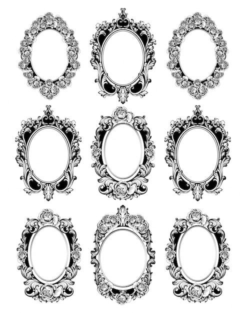Premium Vector Vintage Mirror Frames Set