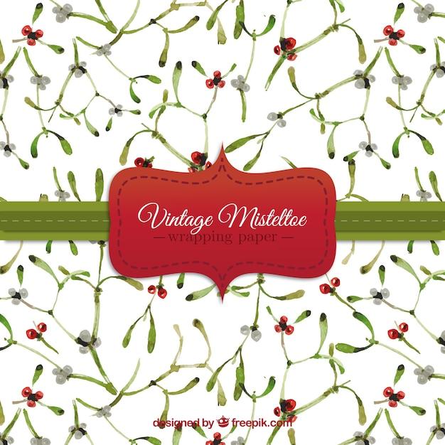 Vintage mistletoe pattern Free Vector