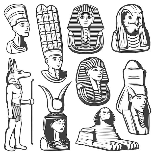 Vintage monochrome ancient egypt people set Free Vector