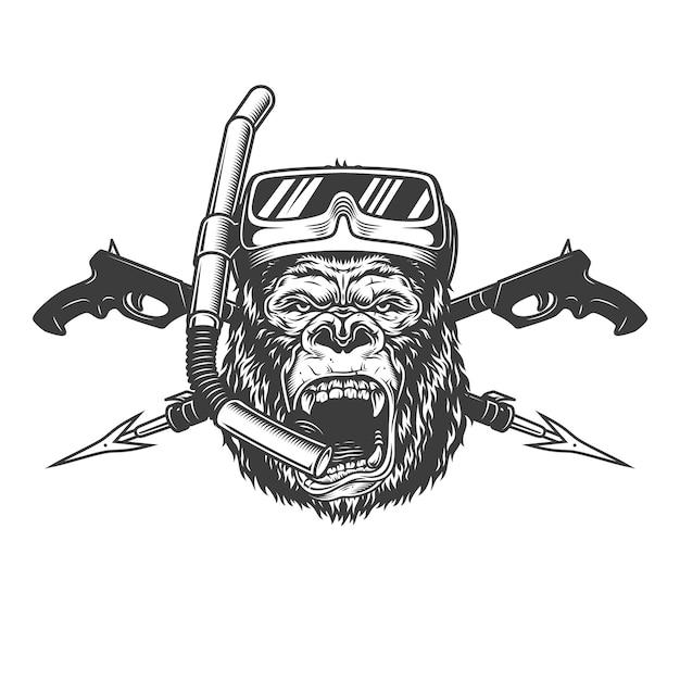 Testa dell'operatore subacqueo gorilla arrabbiato monocromatico vintage Vettore gratuito