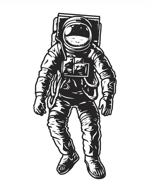 ビンテージモノクロ宇宙飛行士のコンセプト 無料ベクター