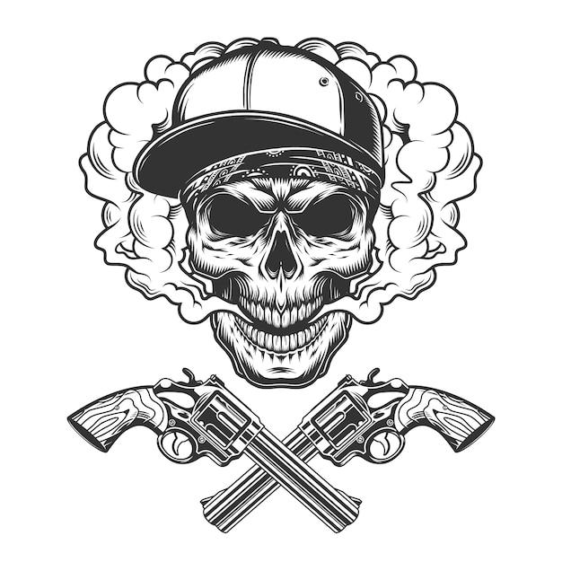 Vintage monochrome bandit skull Free Vector