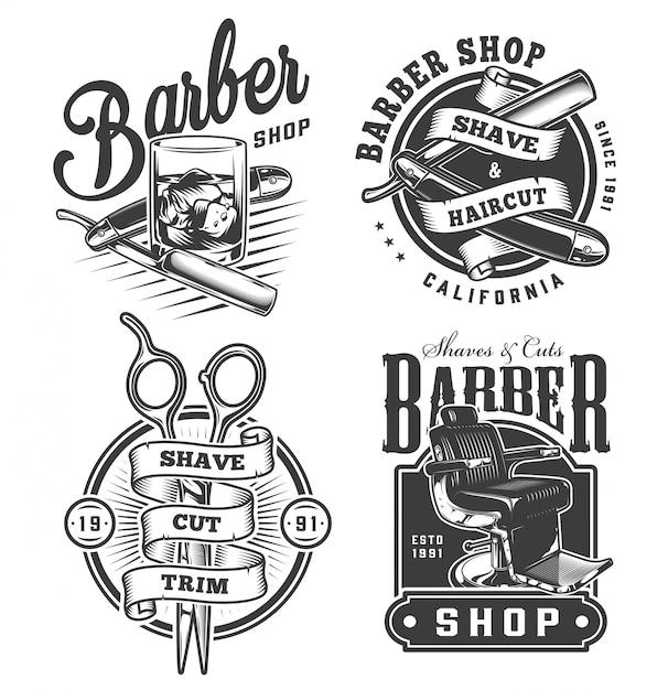 ビンテージモノクロの理髪店のバッジセット 無料ベクター