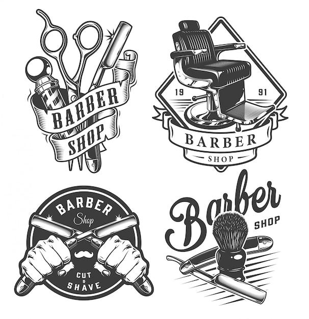 Винтажные монохромные эмблемы парикмахерской Бесплатные векторы