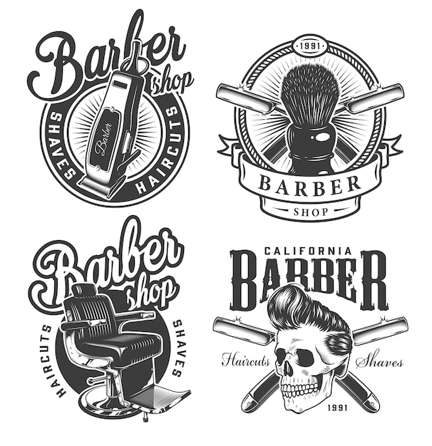 Vintage monochrome barbershop labels Free Vector