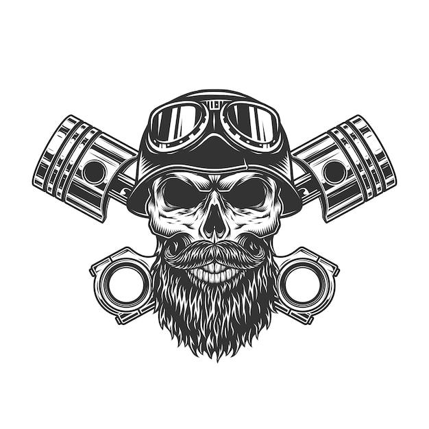 Винтажный монохромный байкерский череп Бесплатные векторы