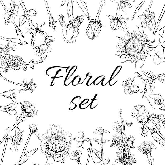 ビンテージモノクロ花の花セット 無料ベクター