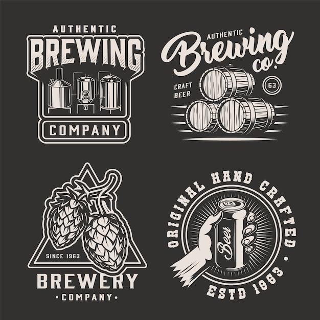 Emblemi di fabbrica di birra monocromatici vintage Vettore gratuito