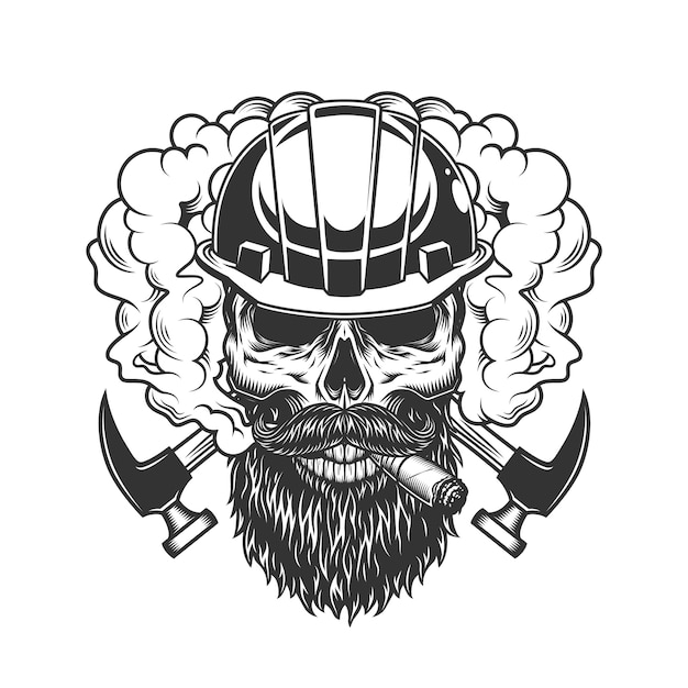 Vintage monochrome builder skull in smoke Free Vector