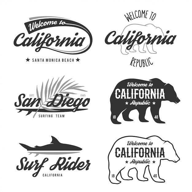 Vintage monochrome california badges. Premium Vector