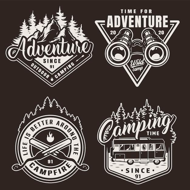 Etichette da campeggio monocromatiche vintage Vettore gratuito