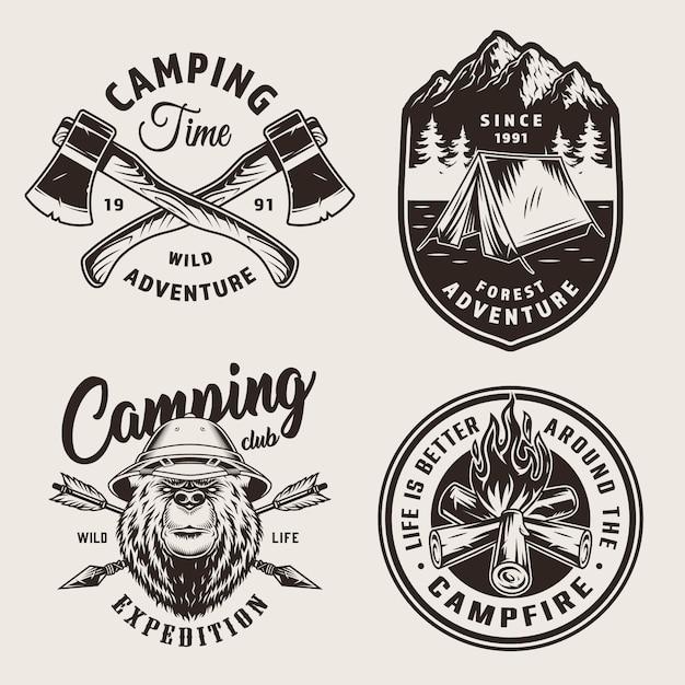 Старинные монохромные логотипы кемпинга Бесплатные векторы