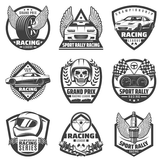 Винтажные монохромные автомобильные гоночные этикетки с быстрыми автомобилями, автомобильные детали, череп, шлем, финишные флаги, изолированные Бесплатные векторы