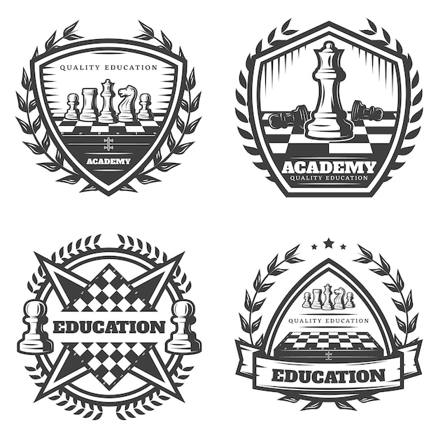 Vintage monochrome chess emblems set Free Vector