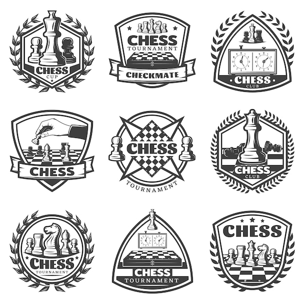 Набор наклеек старинные монохромные шахматы игры Бесплатные векторы